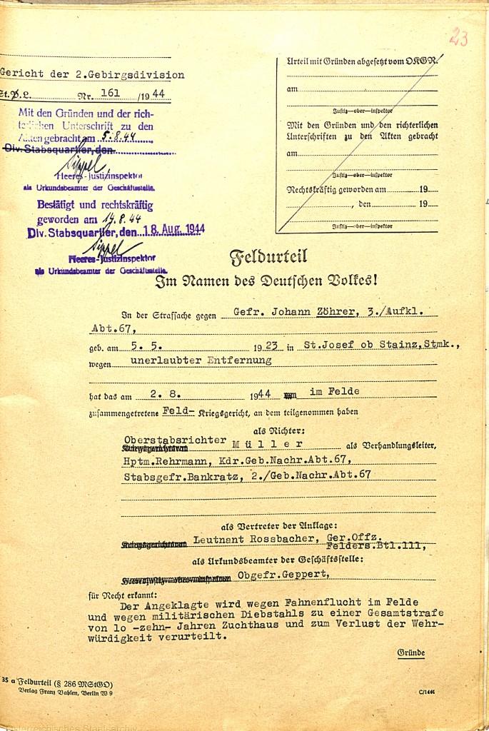 Feldurteil gegen Johann Zöhrer, 2. August 1944 (Auszug).  Quelle: Österreichisches Staatsarchiv/ Archiv der Republik