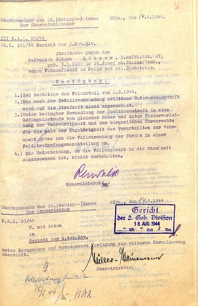 Verfügung des Oberbefehlshabers der 20. Gebirgsarmee, Generaloberst Rendulic, 14. August 1944.  Quelle: Österreichisches Staatsarchiv/ Archiv der Republik