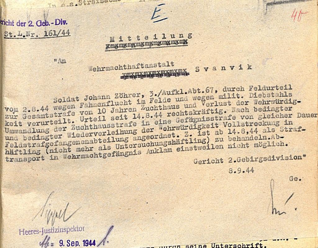 Mitteilung an die Wehrmachthaftanstalt Svanvik, 8. September 1944.  Quelle: Österreichisches Staatsarchiv/ Archiv der Republik