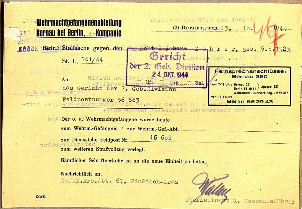 Meldung der Wehrmachtgefangenenabteilung Bernau bei Berlin, 13. Oktober 1944.  Quelle: Österreichisches Staatsarchiv/ Archiv der Republik