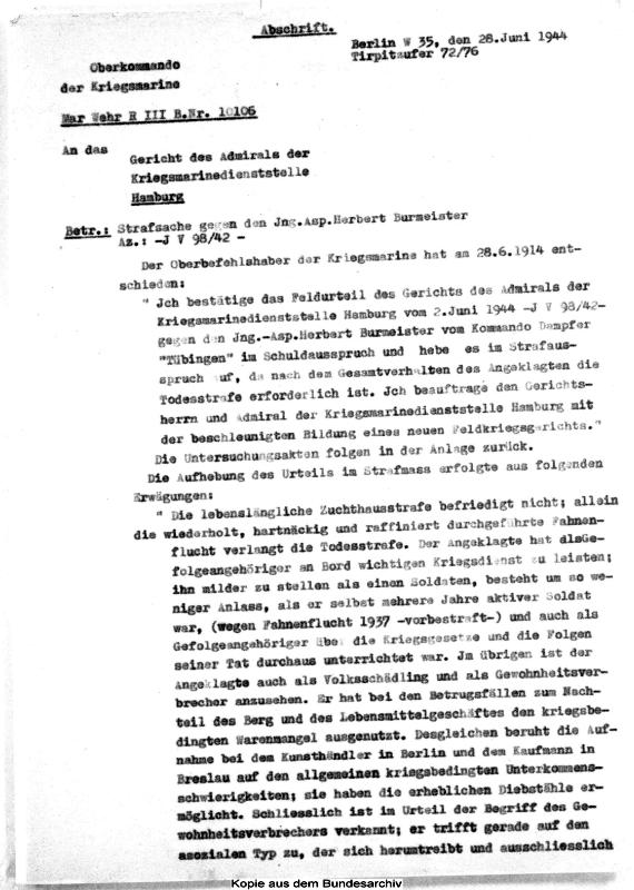Entscheidung des Oberkommandierenden der Kriegsmarine, Karl Dönitz, 28. Juni 1944 (Auszug). Quelle: Bundesarchiv-Militärarchiv, Freiburg