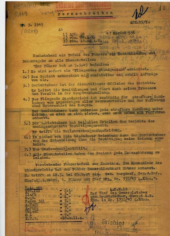 »Führerbefehl« über die Einrichtung eines »fliegenden Standgerichts«, 9. März 1945. / Quelle: Bundesarchiv-Militärarchiv, Freiburg