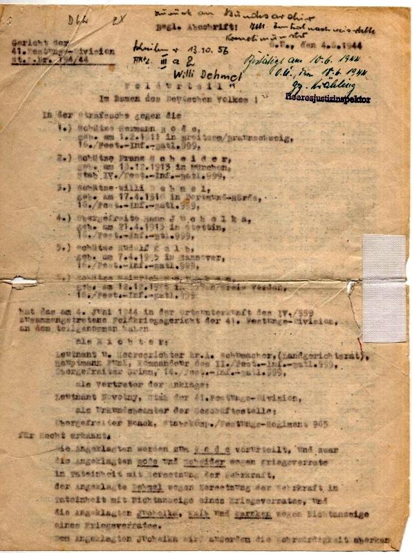 Feldurteil gegen Hermann Bode und Mitangeklagte, darunter Franz Scheider, 4. Juni 1944 (Auszug):  Quelle: Bundesarchiv Militärarchiv Freiburg