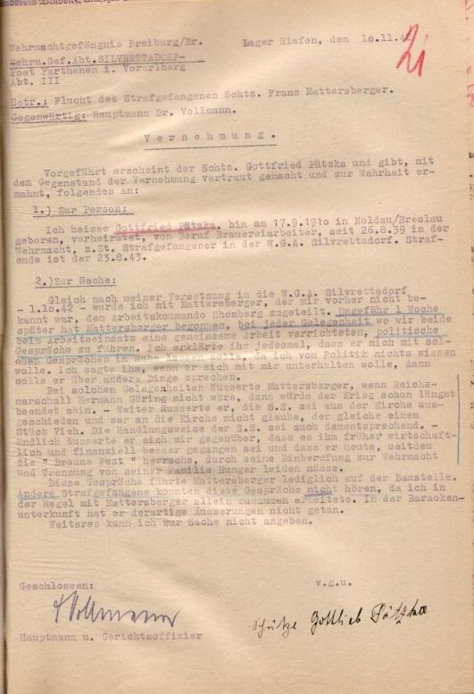 Vernehmungsprotokoll, 10. November 1942.  Quelle: Bundesarchiv-Militärarchiv, Freiburg