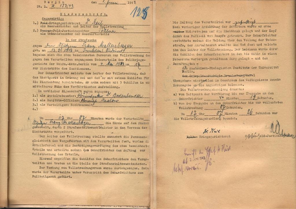 Vollstreckungsprotokoll, 1. Juni 1943 (zwei Blätter).  Quelle: Bundesarchiv-Militärarchiv, Freiburg