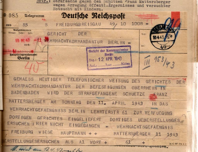 Telegramm, 10. April 1943.  Quelle: Bundesarchiv-Militärarchiv, Freiburg
