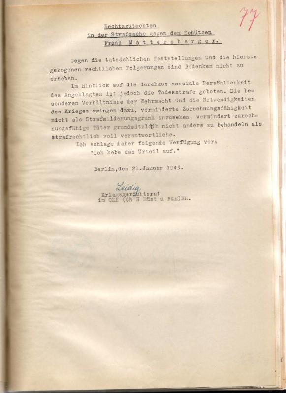 Rechtsgutachten, 21. Januar 1943.  Quelle: Bundesarchiv-Militärarchiv, Freiburg