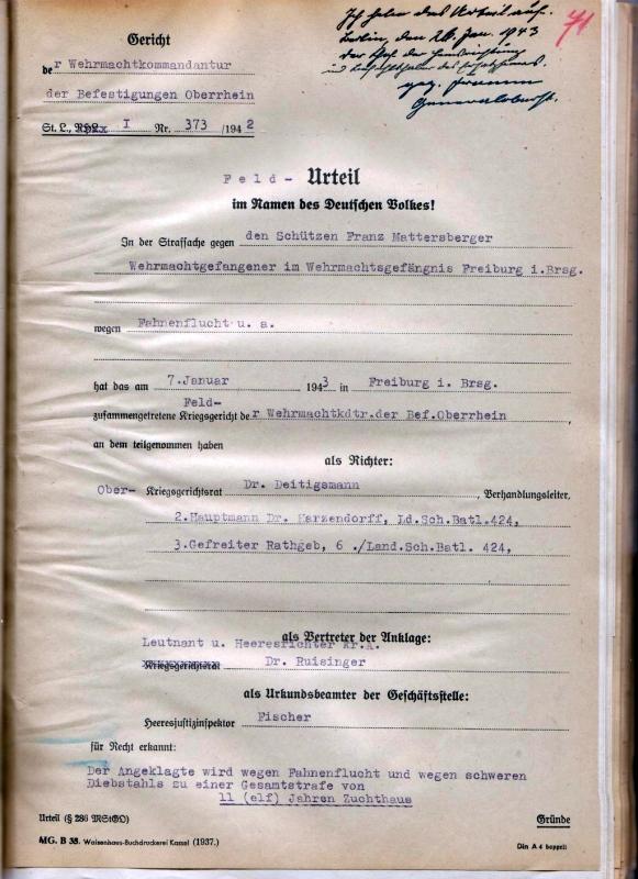 Feldurteil, 7. Januar 1943 (Auszug).  Quelle: Bundesarchiv-Militärarchiv, Freiburg