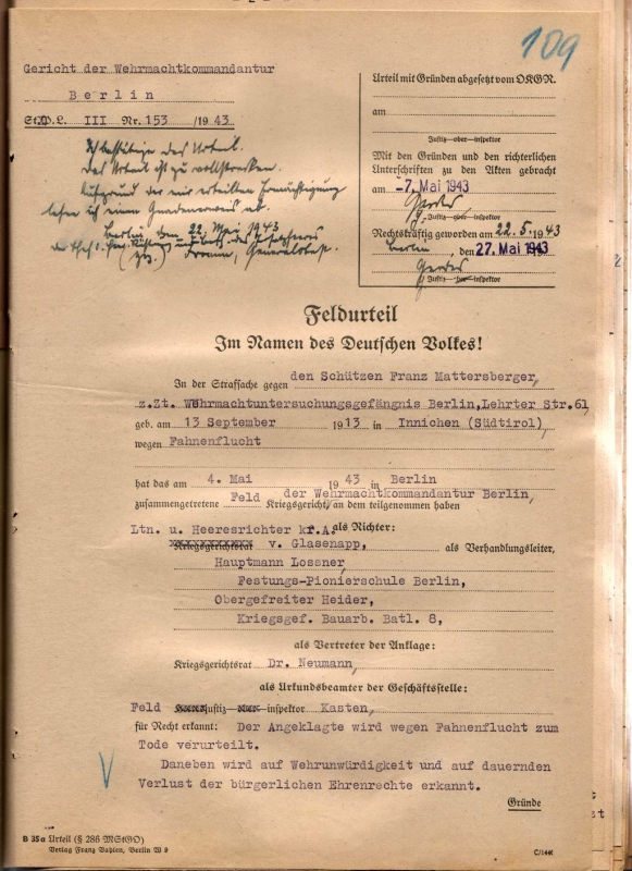 Feldurteil, 4. Mai 1943 (Auszug).  Quelle: Bundesarchiv-Militärarchiv, Freiburg