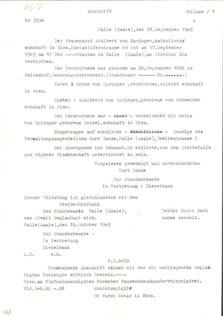 Abschrift Totenschein, ausgestellt von der Stadt Halle/Saale, 18. September 1943.  Quelle: Dokumentationsarchiv des Österreichischen Widerstands