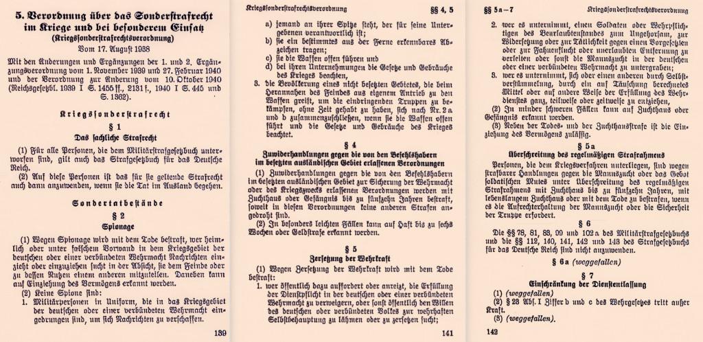 Kriegssonderstrafrechtsverordnung vom 17. August 1938 (Auszug, drei Blätter). Quelle: Deutsche Bücherei, Leipzig