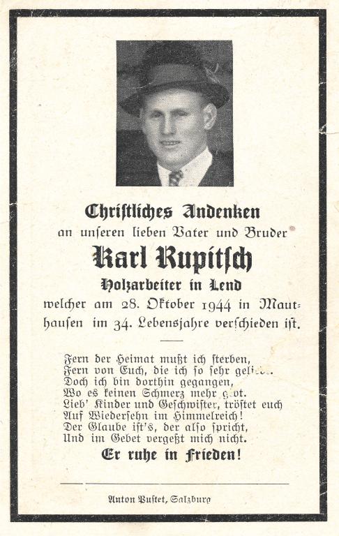 Partezettel für Karl Rupitsch, 1945.  Quelle: privat