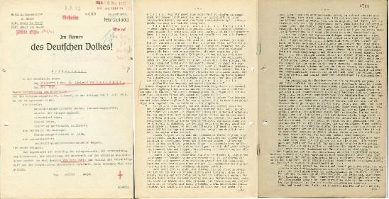 Feldurteil, 7. Juli 1943 (Auszüge, drei Blätter).  Quelle: Vojensky Historicky Archiv, Prag