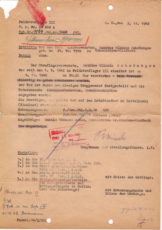 Meldung über den Tod des Straflagerverwahrten Wilhelm Schrömbges, 3. November 1942:  Quelle: Deutsche Dienststelle (WASt), Berlin