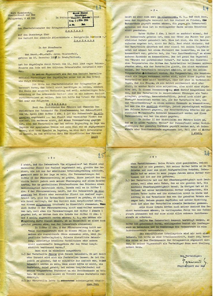 Stellungnahme des Verteidigers, 13. Juli 1944 (vier Blätter) / Quelle: Bundesarchiv-Militärarchiv, Freiburg