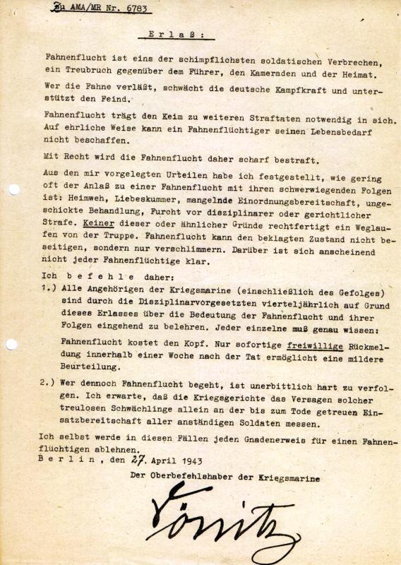 Der nach dem Großadmiral der Kriegsmarine und letztem Staatsoberhaupt des Deutschen Reiches benannte »Dönitz-Erlass«, 27. April 1943. / Quelle: Bundesarchiv-Militärarchiv, Freiburg