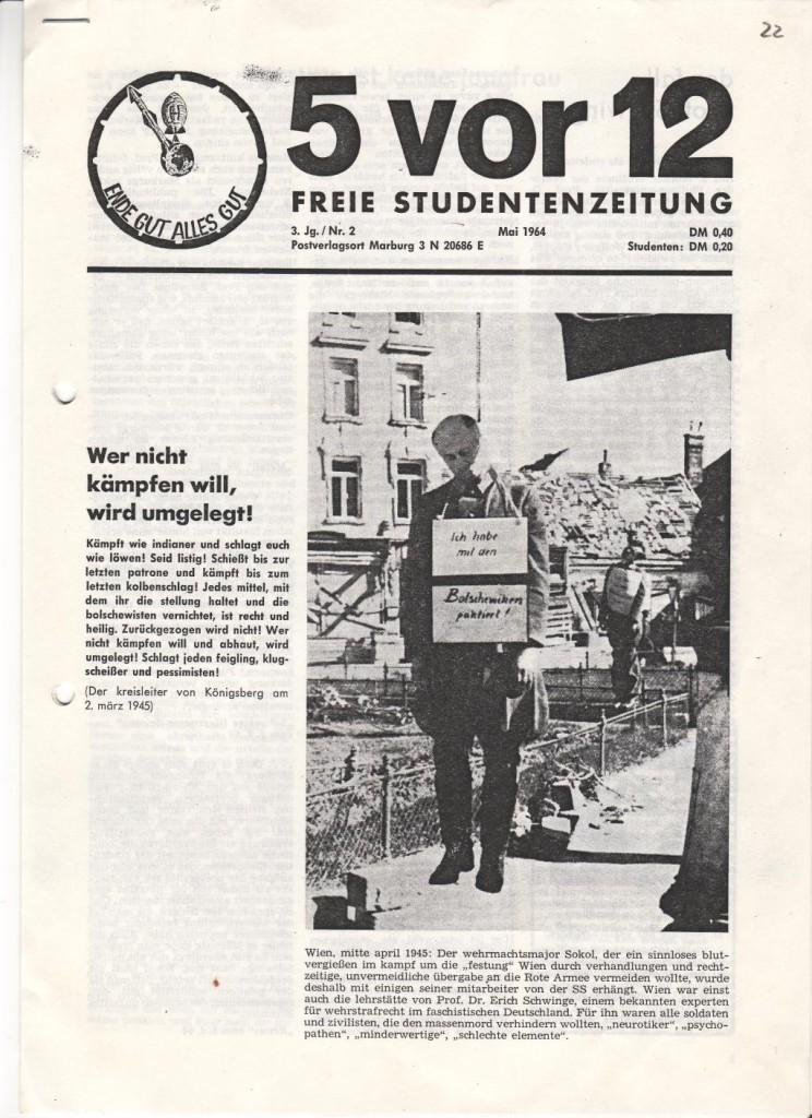 Titelblatt der studentischen Zeitung »5 vor 12«, Mai 1964: Quelle: Sammlung Wüllner (Stiftung Gedenkstätten Sachsen-Anhalt)