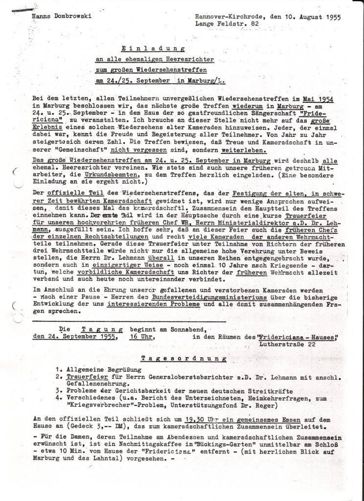 Einladung zum Heeresrichtertreffen, 10. August 1955: Quelle: Geschichtswerkstatt Marburg