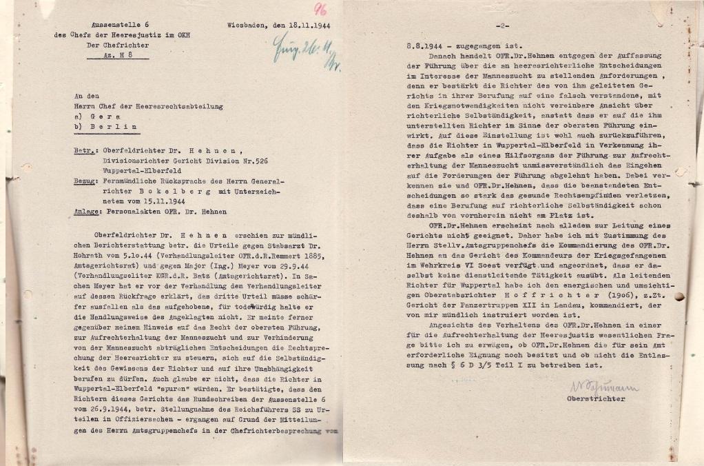 Bericht des Chefrichters beim Oberkommando des Heeres, Schumann, über Heinrich Hehnen, 18. November 1944 (zwei Blätter)  Quelle: Bundesarchiv-Militärarchiv, Freiburg