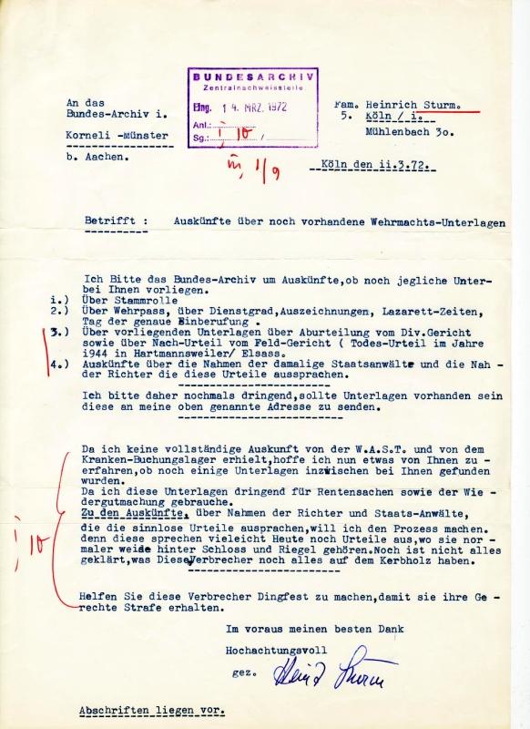 Schreiben des ehemaligen Panzergrenadiers Heinrich S. an das Bundesarchiv, 11. März 1972: Quelle: Bundesarchiv-Militärarchiv, Freiburg