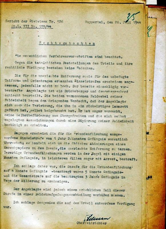 Rechtsgutachten Heinrich Hehnens im Fall des Panzergrenadiers S., 26. Juli 1944. Quelle: Bundesarchiv-Militärarchiv, Freiburg