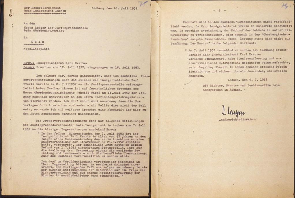Auszug Personalakte, Abschrift eines in der »Oberbergischen Rundschau« erschienenen Nachrufs, 18. Juli 1952 (zwei Blätter).   Quelle: Landesarchiv NRW Hauptstaatsarchiv, Düsseldorf