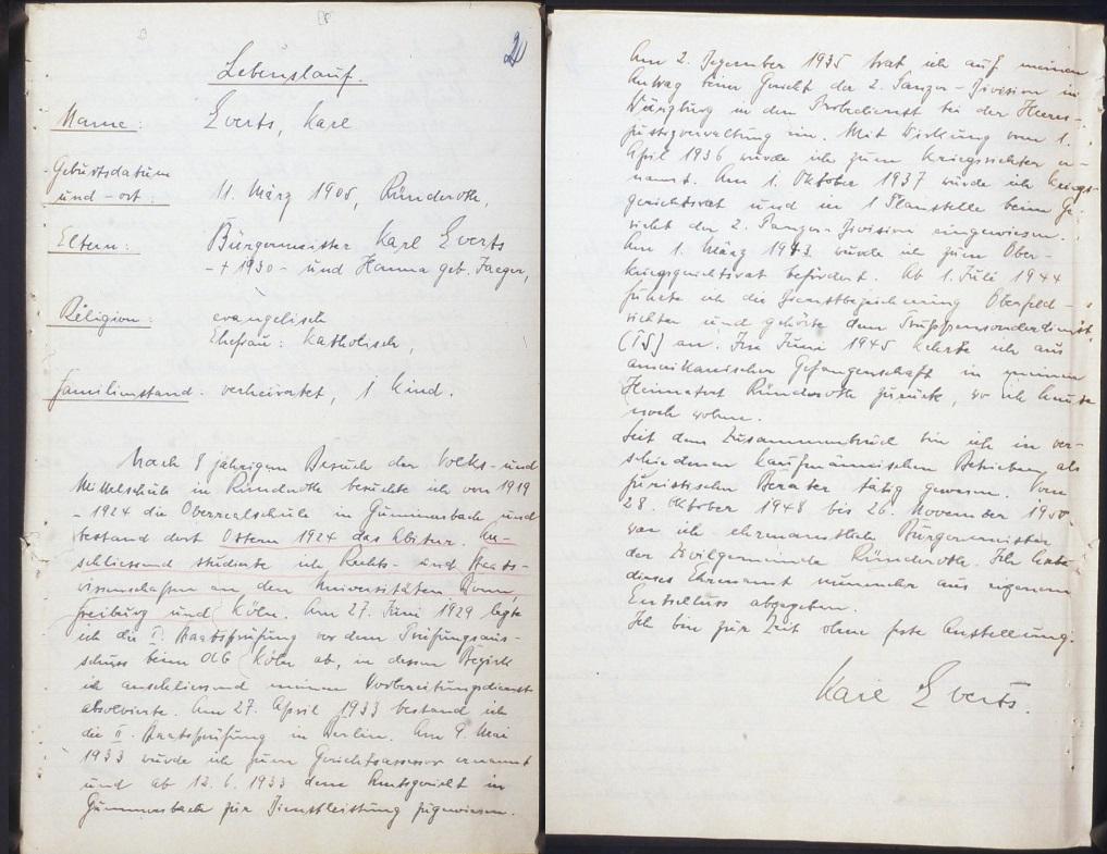 Handgeschriebener Lebenslauf Karl Everts', undatiert.  Quelle: Landesarchiv Nordrhein-Westfalen Hauptstaatsarchiv, Düsseldorf