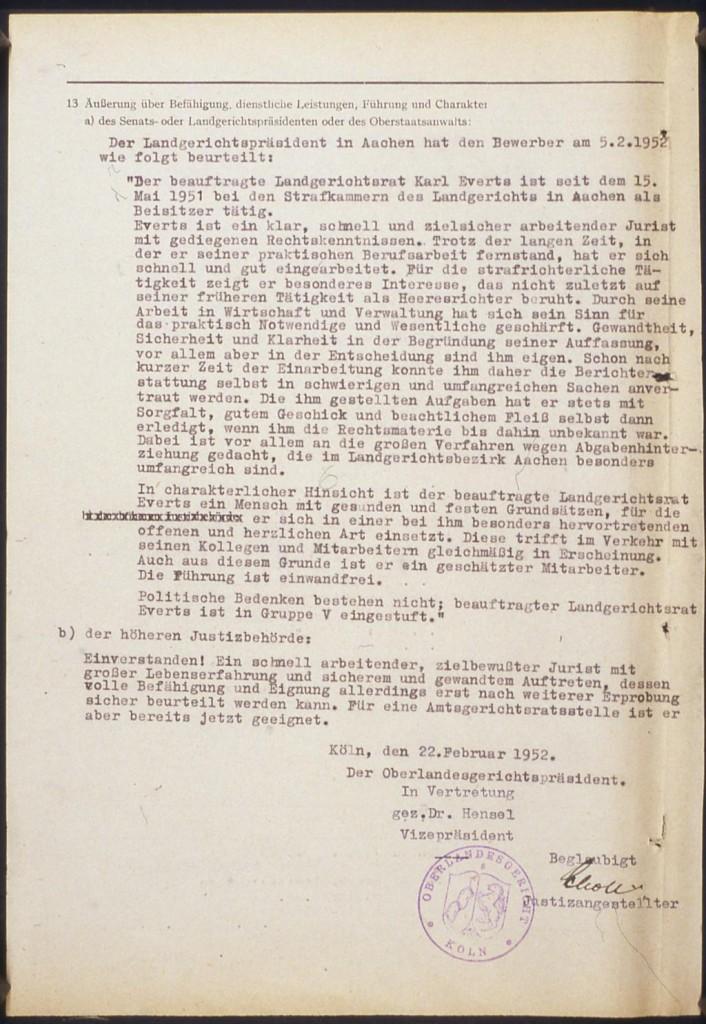 Dienstliche Beurteilung durch den Oberlandesgerichtspräsidenten, 22. Februar 1952.  Quelle: Landesarchiv Nordrhein-Westfalen Hauptstaatsarchiv, Düsseldorf