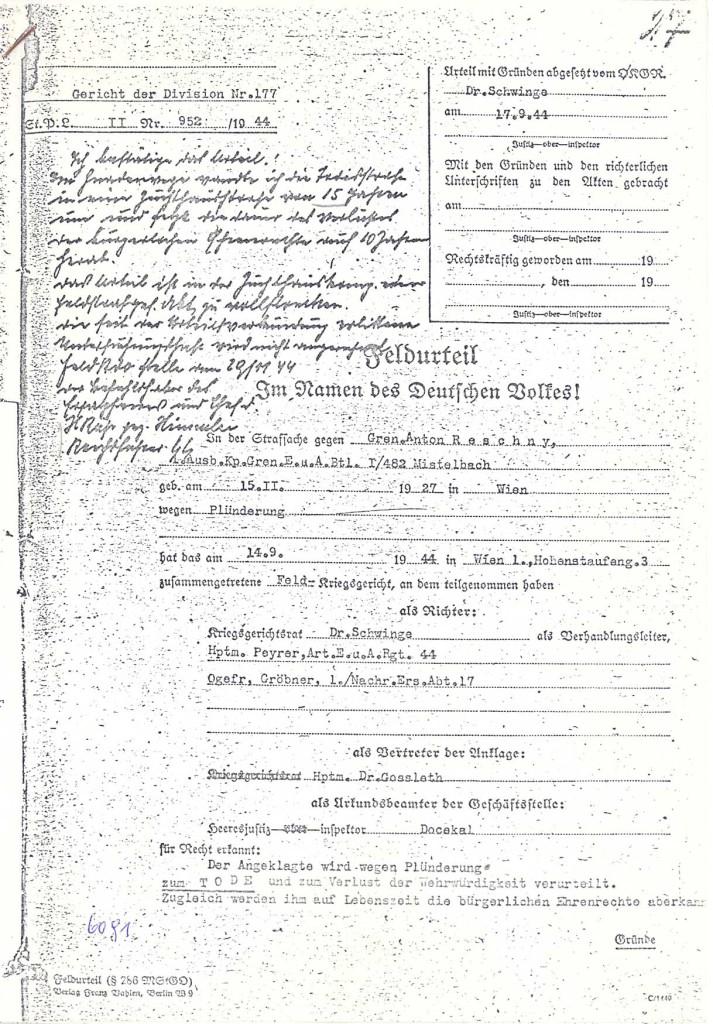Kriegsgerichtsurteil gegen Anton Reschny, 14. September 1944 (Auszug): Quelle: Dokumentationsarchiv des österreichischen Widerstandes, Wien