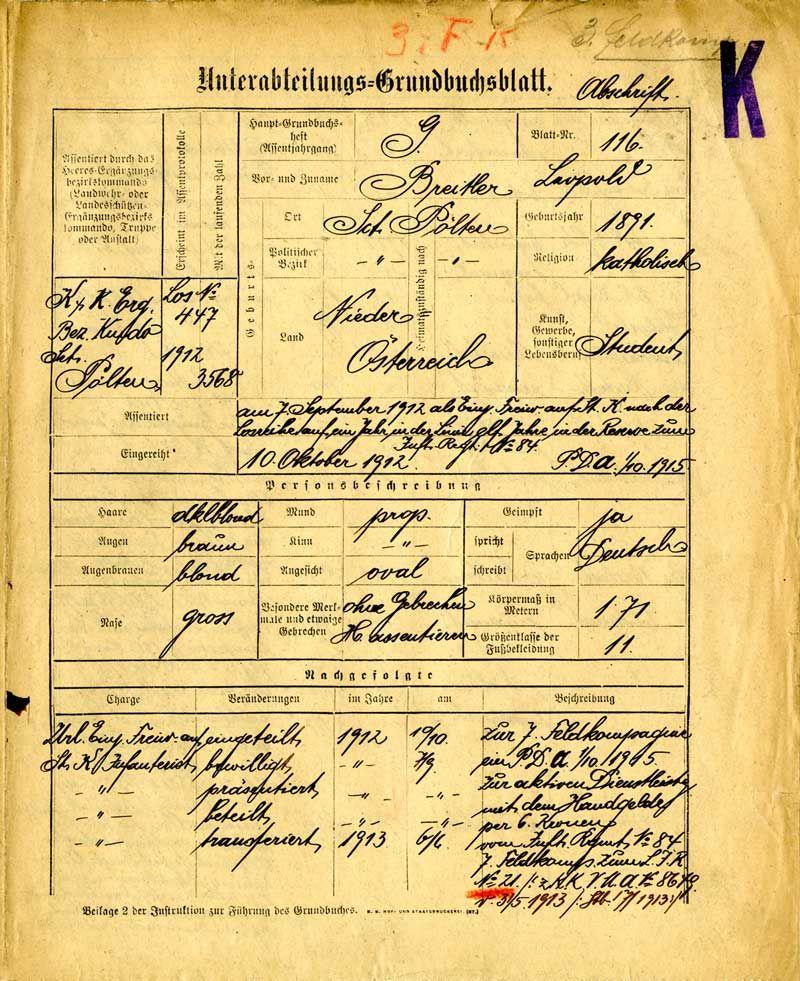 Grundbuchblatt der k. u. k. Armee für Leopold Breitler, undatiert: Quelle: Österreichisches Staatsarchiv/Kriegsarchiv, Wien