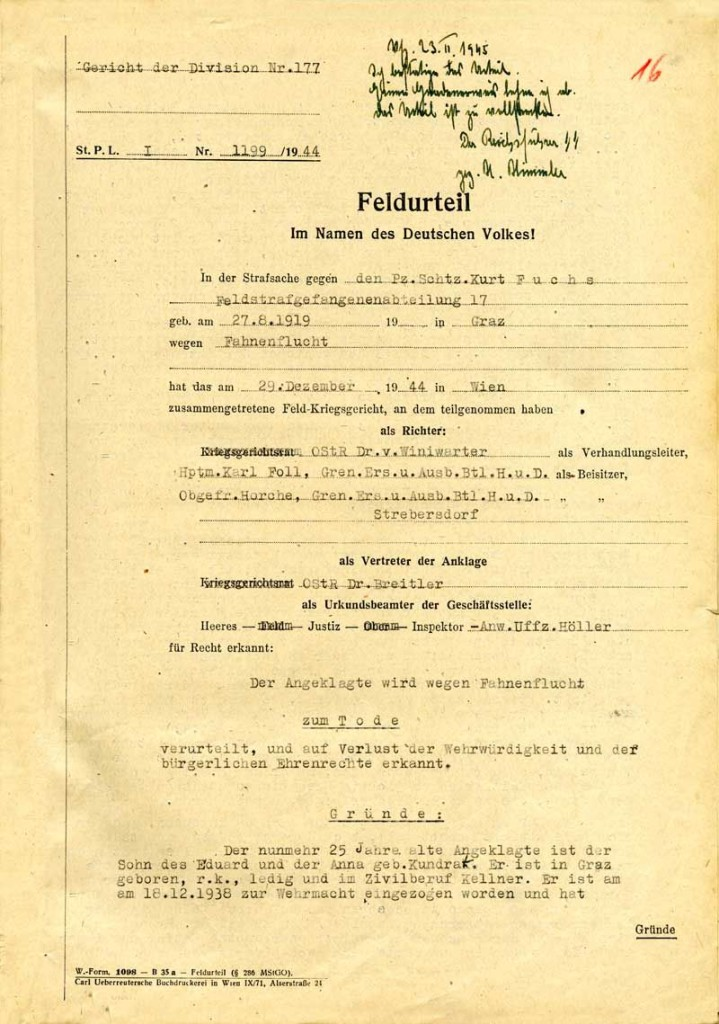 Todesurteil gegen Kurt Fuchs, Wien, 29. Dezember 1944: Quelle: Österreichisches Staatsarchiv/Archiv der Republik, Wien