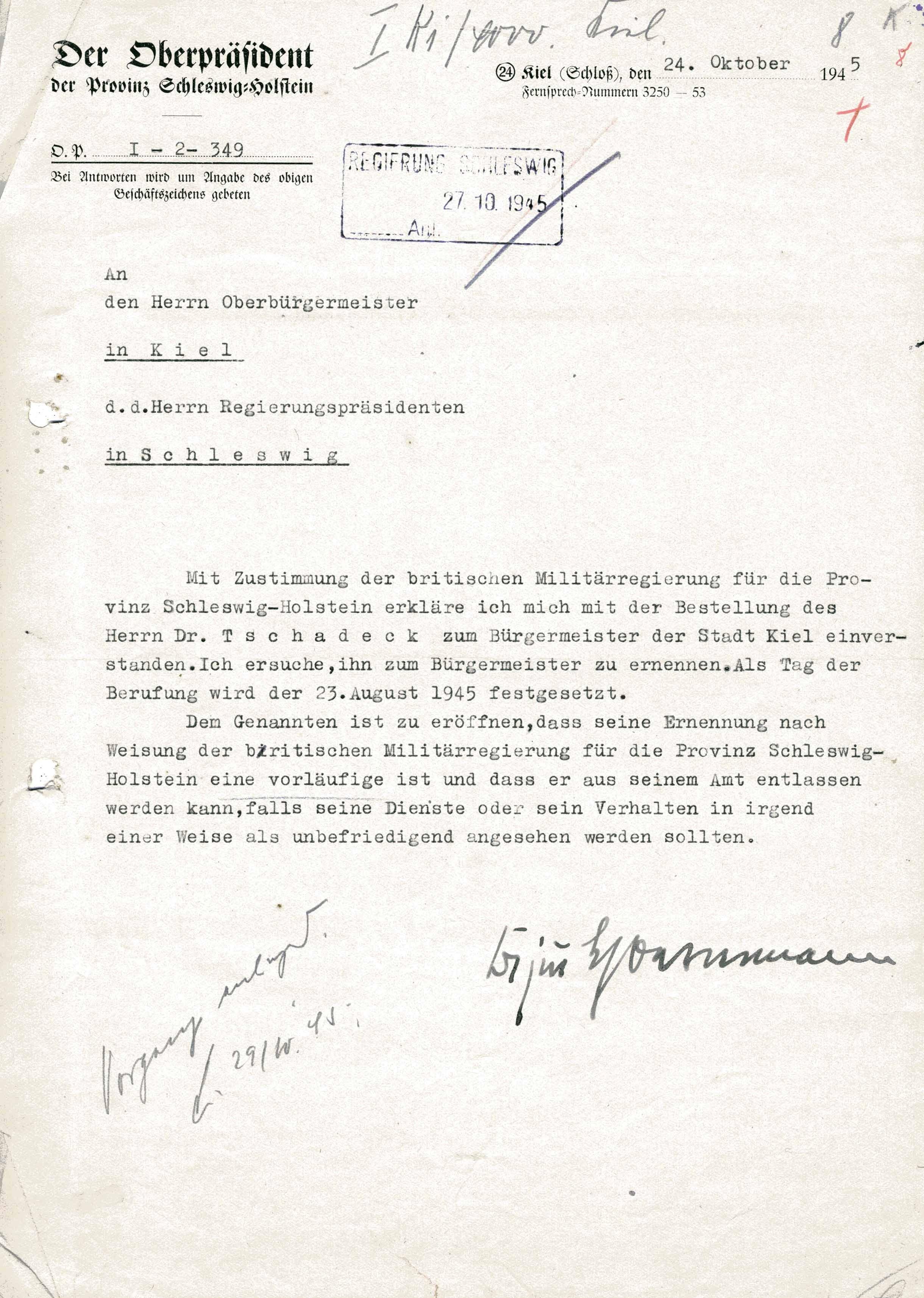 Meldung über die Berufung Otto Tschadeks zum Bürgermeister von Kiel, 24. Oktober 1945. Quelle: Stadtarchiv Kiel