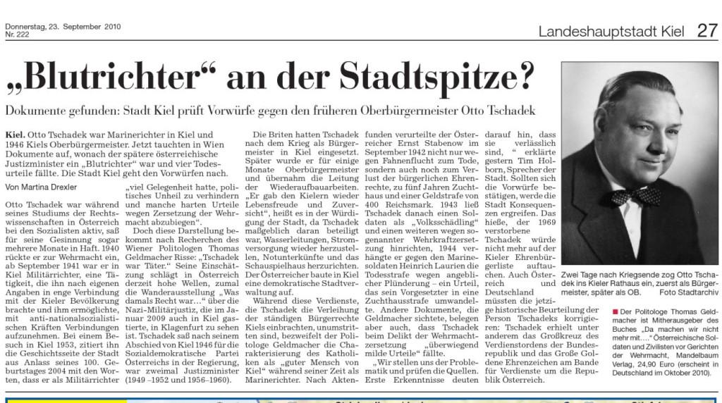 Bericht in den Kieler Nachrichten, 22. September 2010. Quelle: Kieler Nachrichten