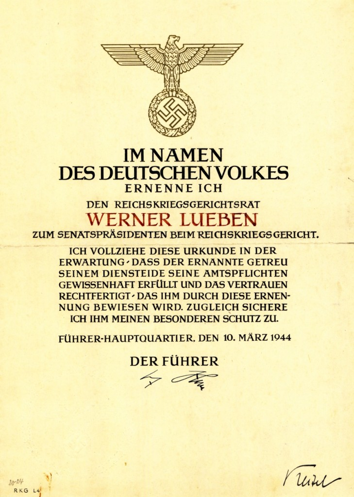 Ernennungsurkunde, 10. März 1944: Quelle: Privatarchiv Claus Lueben, Halstenbek
