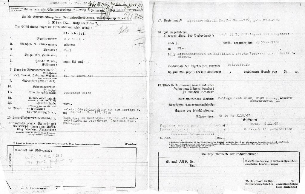 Auszug aus einer Abschrift eines Steckbriefs vom 5. November 1945 (zwei Blätter):   Quelle: Stadt- und Landesarchiv, Wien