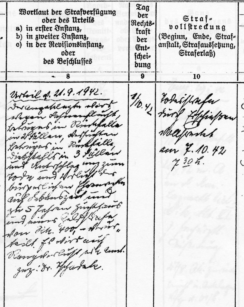 Eintrag in der Strafverfahrensliste des Gerichts des Küstenbefehlshabers westliche Ostsee, November 1944. Quelle: Bundesarchiv-Militärarchiv Freiburg