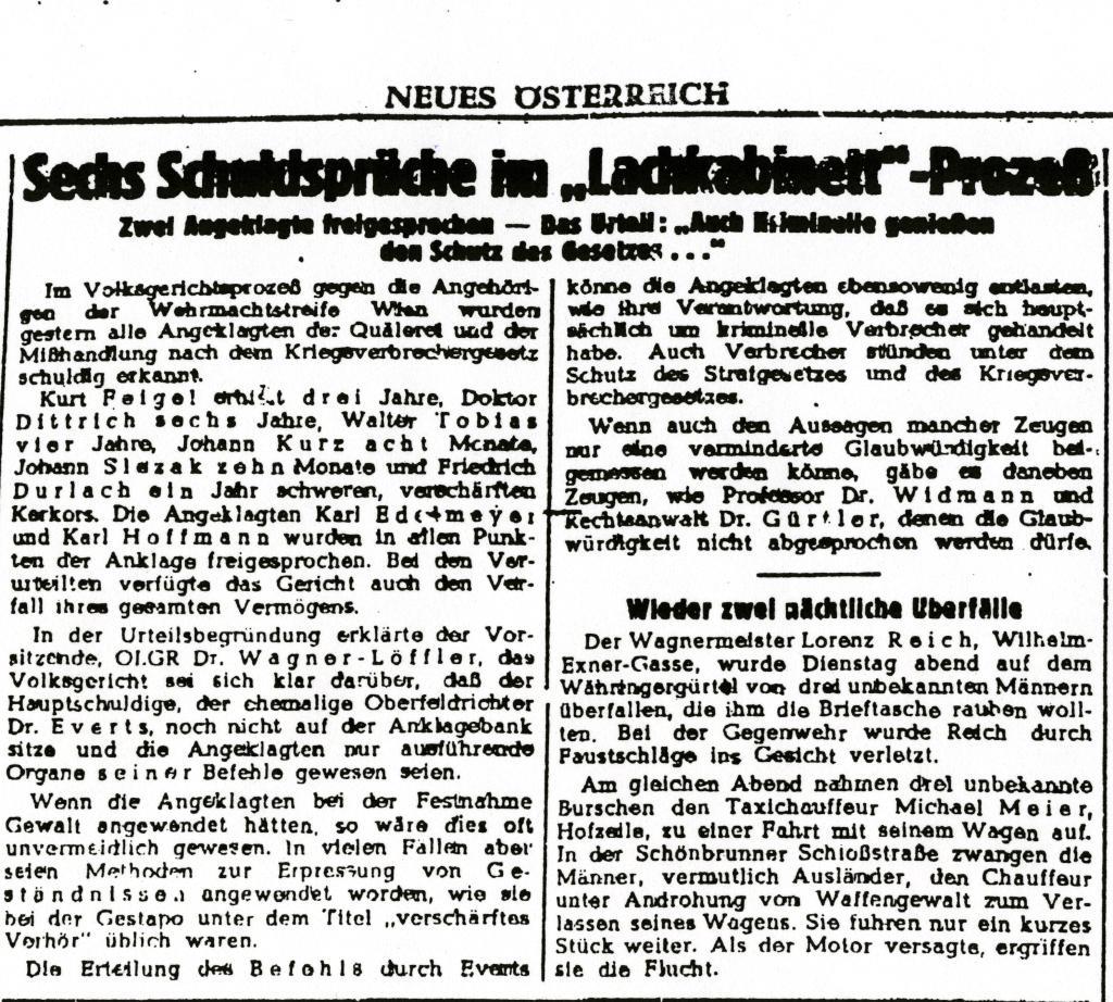 Ausschnitt »Neues Österreich«, 26.März 1948: Quelle: »Neues Österreich« vom 26. März 1948