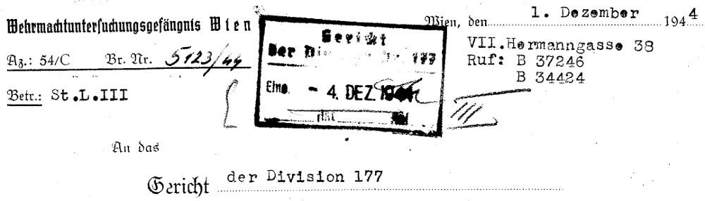 Briefkopf eines Schreibens aus dem WUG VII an ein Gericht in der Innenstadt. Bildquellen: Dokumentationsarchiv des österreichischen Widerstands / www.doew.at
