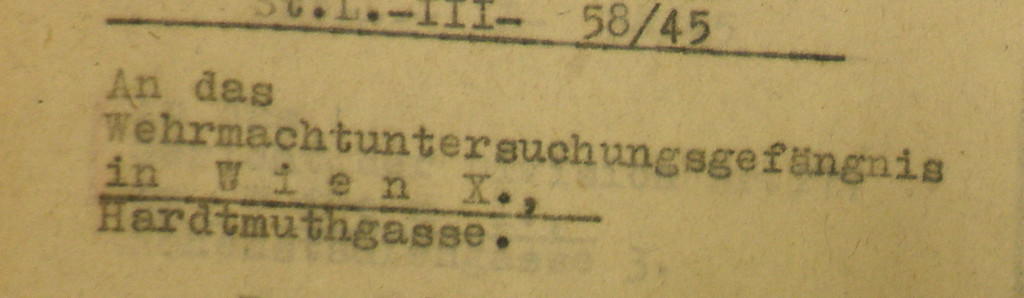 Ausschnitt eines Briefkopfes aus einem Verfahren der NS-Militärjustiz. Bildquellen: Dokumentationsarchiv des österreichischen Widerstands / www.doew.at