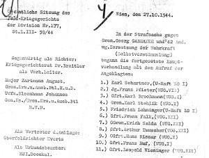 Ausschnitt aus einem Urteils des Gerichts der Division 177. Die elf Angeklagten wurden auf fünf verschiedene Haftanstalten aufgeteilt. Bildquellen: Dokumentationsarchiv des österreichischen Widerstands / www.doew.at