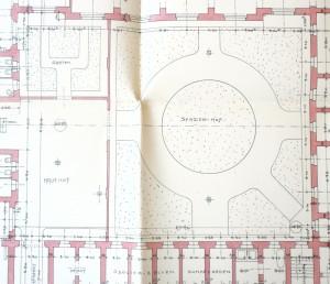 Aufriss des Hofes und der Zellen, unten im Bild: Isolierzellen und Dunkelkammer, Plan: ca. 1920. Bildquellen: privat M.L.