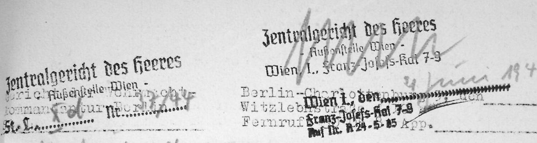 Briefkopf des Zentralgerichts des Heeres, Außenstelle Wien mit Adresse Franz-Josefs-Kai 7-9 vom 4.Juni 1944 (Quelle: DÖW)