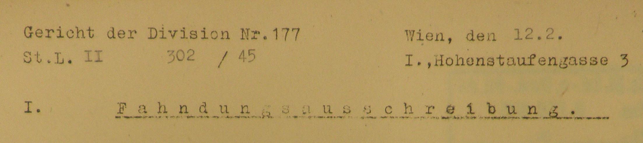 Briefkopf des Gerichts der Divison 177, Standort Hohenstaufengasse 3 (Quelle: DÖW)