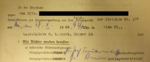 Verfügung des Gerichts der Division 177, Standort Loquaiplatz 9 über die Vorführung eines Verdächtigen zur Hauptverhandlung (Quelle: DÖW)