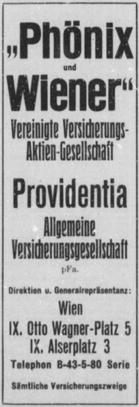 Inserat Phönix-Versicherung, 1930, mit Anschrift (Quelle: Lehmann)