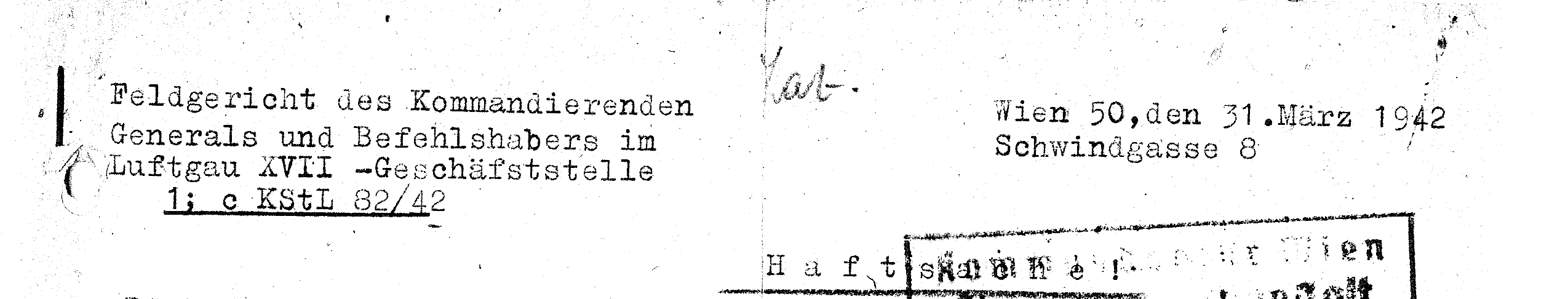 Letterhead on a letter from the Luftgau court to a prison in Vienna, 1942 (source: DÖW).