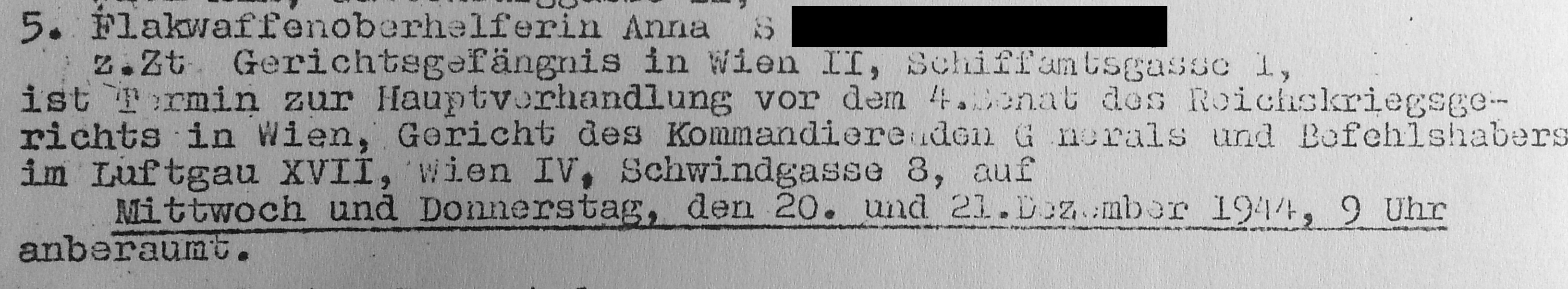 Excerpt from a notice of legal proceedings against members of a Styrian resistance group (OFF) regarding a court trial on Schwindgasse 8 (source: DÖW 21062/85C)