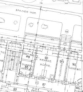 Plan des Gefangenenhauses von ca. 1900, zu sehen etwa der Spazierhof und eine Arrestzelle im Erdgeschoß (noch heute vorhanden!) (Quelle: Privatarchiv M.L.)