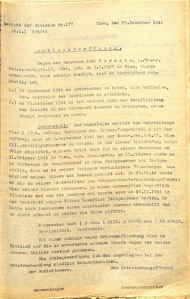 Anklageverfügung des Gerichts der Division 177, 19. Dezember 1944.  Quelle: Österreichisches Staatsarchiv/ Archiv der Republik