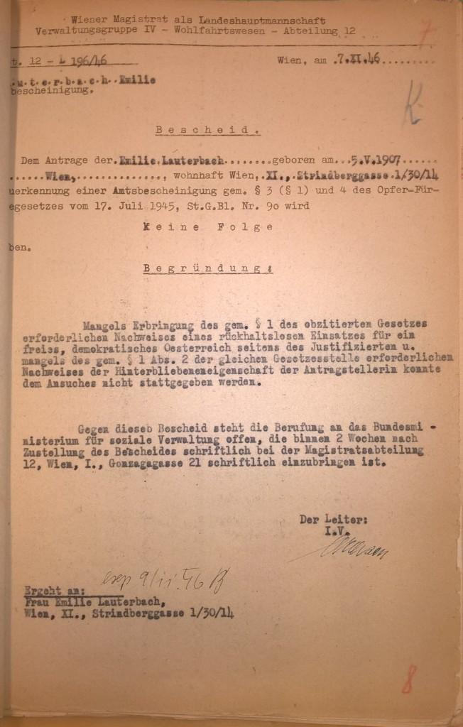 Bescheid der Verwaltungsgruppe VI (Wohlfahrtswesen) des Wiener Magistrats, 7. November 1946. Vor allem habe sich Karl Lauterbach durch seine Handlungen als Selbstverstümmler nicht »rückhaltlos« für »ein freies, demokratisches Oesterreich« eingesetzt.  Quelle: Stadt- und Landesarchiv Wien